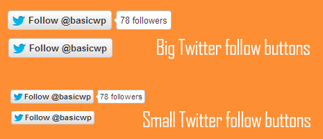 direct code to show twitter follow button is large and small size