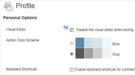 remove visual editor in wordpress