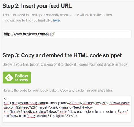 Add RSS Feed URL & copy embed code