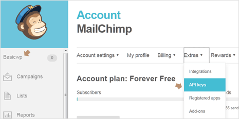 MailChimp Account Settings