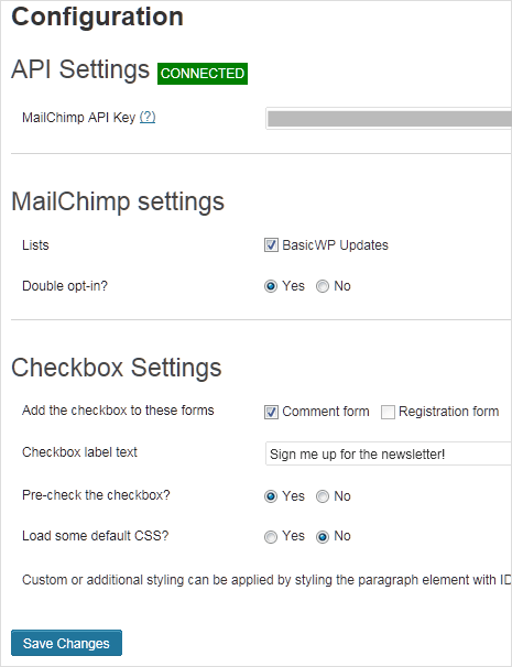 MailChimp for WP plugin options
