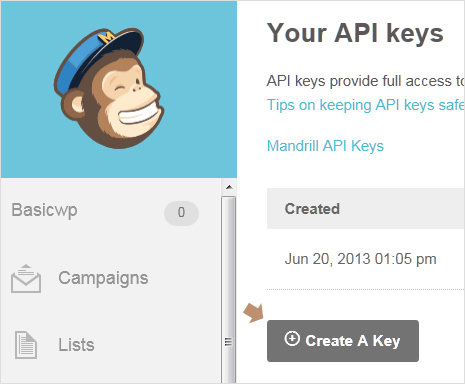 Create API key in MailChimp