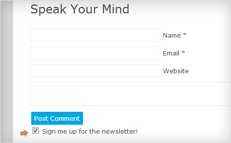 MailChimp checkbox under comment form