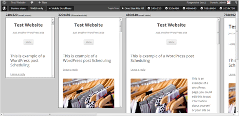 Check Responsive design in different sizes