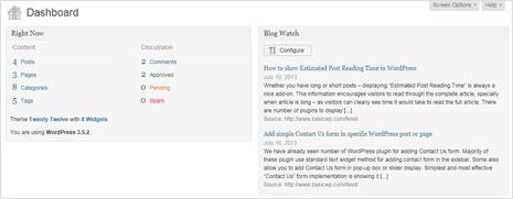 see rss feed updates in wordpress dashboard