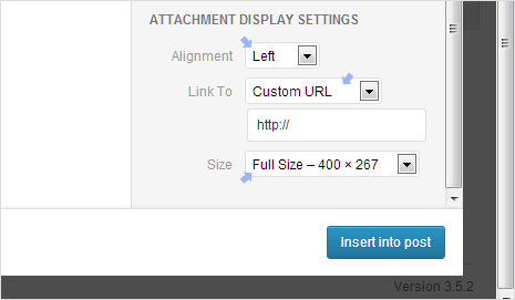 modify default attachment media display settings wordpress