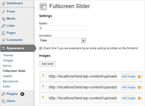 fullscreen background image slider for wordpress website