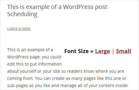 add large small text button for font size change