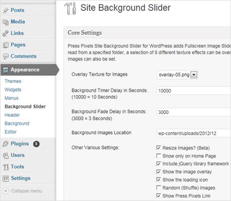 wordpress site background image slider plugin