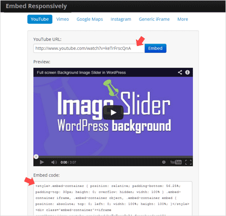 embed code for responsive youtube video