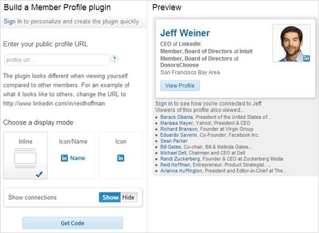 get code for showing linkedin profile badge on wordpress site