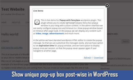pop-up message box in wordpress