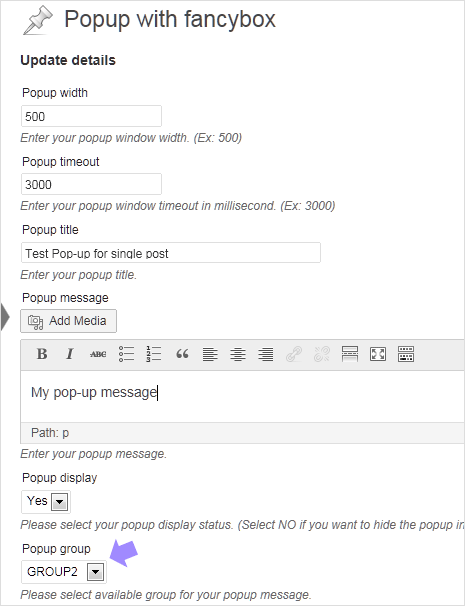 pop-up message box plugin settings