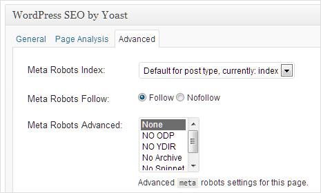 robots meta setting in yoast seo plugin