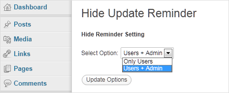 hide wordpress update message for admin and other users