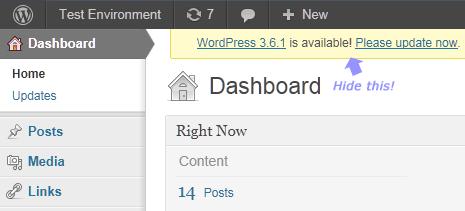 hide wordpress notification alert in the dashboard